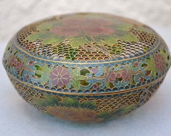 Plique A Jour Rose Design Covered Bowl Vintage