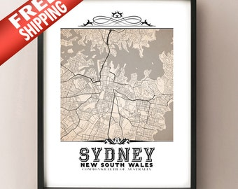 Sydney Vintage Style Sepia Map Art Print - Sydney, New South Wales City Map Decor