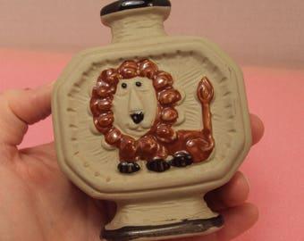 Small Retro Ceramic Pottery Zodiac Leo Lion Bud Vase 1960s Mini Taupe Brown Enamel 60s