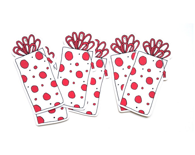 Holiday Gift Tags - Christmas Gift - Cute Polka Dot Red and White Tags - Wrapping