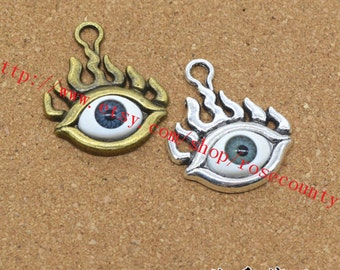 wholesale 20pcs antiqued silver/antiqued bronze Evil eye 28x23mm eye charms findings