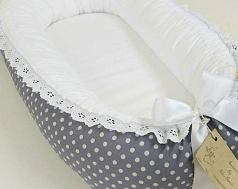 Grey - white dots - embroidery lace and satin ribbon Babynest
