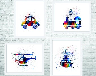 Baby Boy Nursery Art-Transportation Wall Art- Transportation Nursery Art-Transportation Room Decor- Kids Wall Decor-Set of 4 Prints