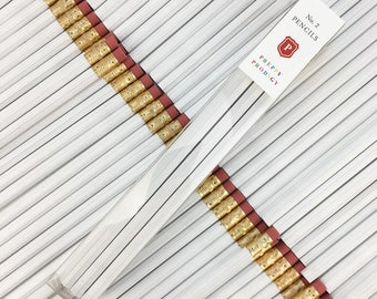 White Pencils, set of 9, Back to School Supplies, Gifts for him, Gifts for her, Preppy School Supplies