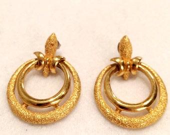 "Vintage Gold Tone 1.5""  Gold Tone  Earrings Pierced"