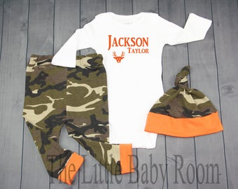 Baby Boy Coming Home Outfit Set,Leggings,Hat,Camouflage,Hunting,Army,Clothes,Camo,Pesonalized Name Oneise,Orange,Gift,Hospital,Newborn,Go