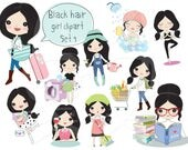 Black hair girl clipart set 3 ,girl stickers clipart instant download PNG file - 300 dpi