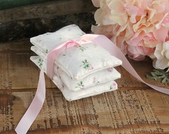 Pretty Pink Rosebuds Lavender or Balsam Sachets Set of 3, Organic Lavender, Lavender Pillows, Natural Aroma Therapy