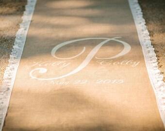 25 ft charming burlap aisle runner with lovely lace border & monogram