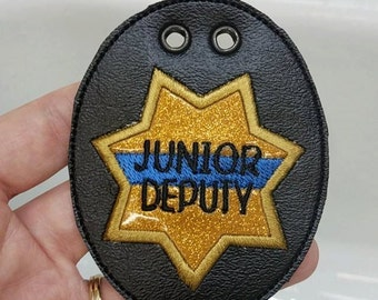 Junior Deputy 7 Point Badge -  NECKLACE - POLICE - Cop - Law Enforcement - In The Hoop - Digital Embroidery Design