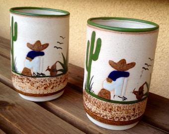 Amigos Mugs, Cactus Mugs, Tonala Pottery, Tonala Mugs, Cactus Cups, Cactus Stoneware Mug, Amigo Cups, MExican Decor, Mexican Pottery