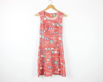 CUTE as an APPLE Writing Print 70s Vintage Watermelon Pink Sleeveless Retro Knee Length Dress