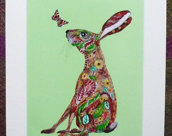 Decoration Hare In Matt mount A Characterful Leaf Doodle