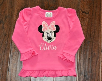 Minnie or Mickey Mouse Applique shirt with name, inspired by
