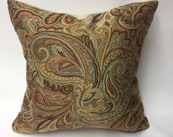 Rusts, Browns, & Golds Embroidered Paisley Decorative Pillow Cover