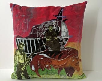 Original woodcut images on soft velvet cushions
