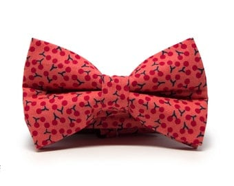 Kids red cherries bow tie, Pale red boys bow tie, Pretied children bow tie, Pale red bow tie with cherries, Minute Papillons bow tie