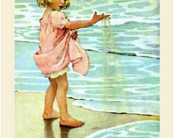 Jessie Willcox Smith, Little Drops of Water, Girl, Shore, 11x14 Cotton Canvas Print. nursery art. toddler decor. childrens art. FREE ship US