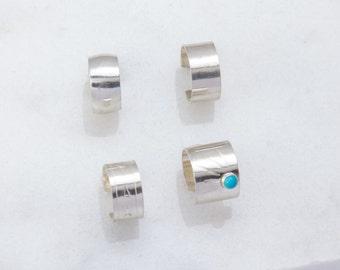 Sterling Silver Ear Cuff Component, Sterling Silver Earrings, Turquoise Silver Ear Cuff, Plain Band Ear Cuffs, Everyday Wear, Earrings
