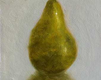 Oil On Panel - 'One Of A Pear' Still Life Daily Oil Painting Original Kitchen Art Fruit