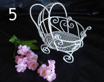 Set of 5 Vintage Mini Wire Baby Buggies - Great for Baby Shower Favors