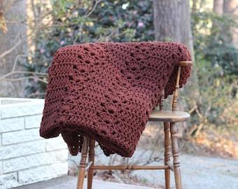 Large Vintage Handmade Crocheted Brown Afghan / Large Brown Crocheted Afghan / Chocolate Brown Afghan / Brown Handmade Throw / Brown Throw
