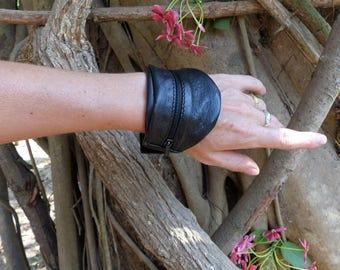 Black leather bracelet, cuff, Velcro wrist wallet