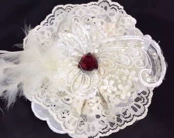 Beautiful handcrafted clip on vintage style flower,clip on a hat,scarf,hair package or beautiful weddings