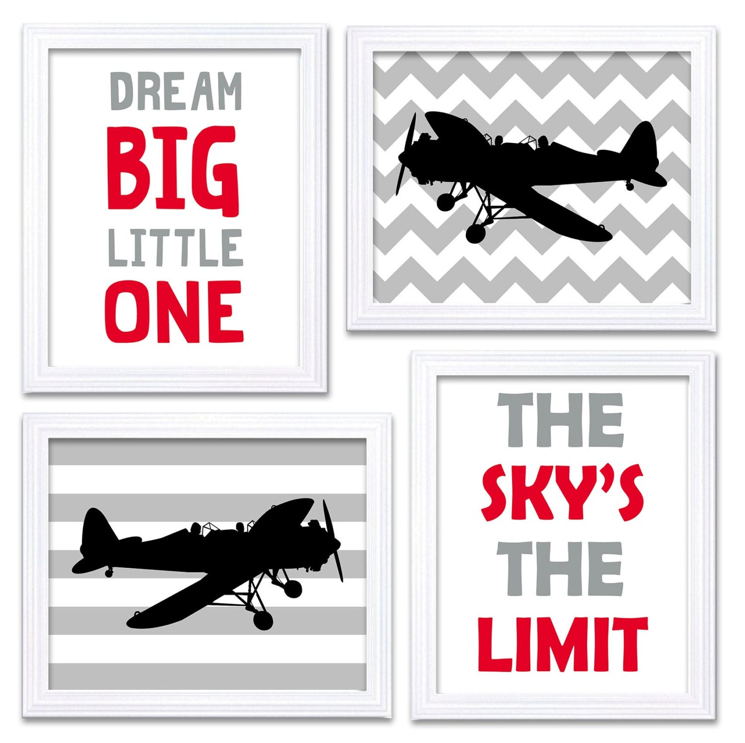 Airplane Nursery Art Red Black Grey Nursery Print Set of 4 Transportation Dream Big Little One The S