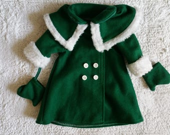 Doll Coat Wool Green for 15 to 16 Inch Doll