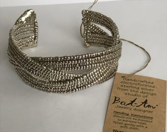 Bat-Ami Sterling Cuff Bracelet New Israel Bat Ami Electroform Wax 925 Silver Vintage Jewelry Holiday Birthday Christmas Gift
