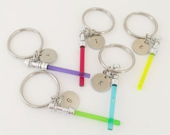 Light saber stamped initual keychain, Star Wars, force be woth you, initial, gift, keychain