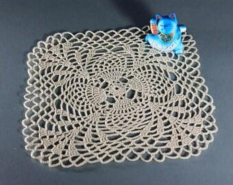Crochet Doily, Square, 8-inch, Ecru (Natural), Pineapple, Small, Crochet Mat, Crochet Lace