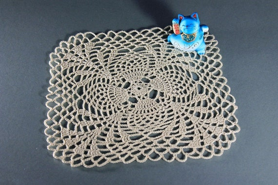 Crochet Doily, Square, 8-inch, Ecru (Natural), Pineapple, Small, Crochet Mat, Crochet Lace