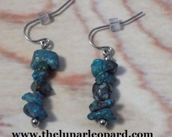 Turquoise Chip Earrings on Stainless Steel
