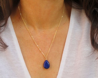 Gold Lapis Lazuli necklace, Gemstone necklace, Lapis lazuli necklace, Blue stone necklace, Gifts for her, Anniversary gift