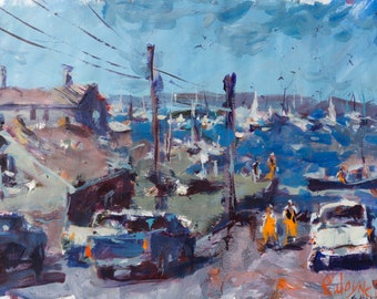 Colorful Boothbay Maine Inspired Landscape Painting
