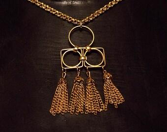 Brass Tassel Necklace Vintage Geometrical Design