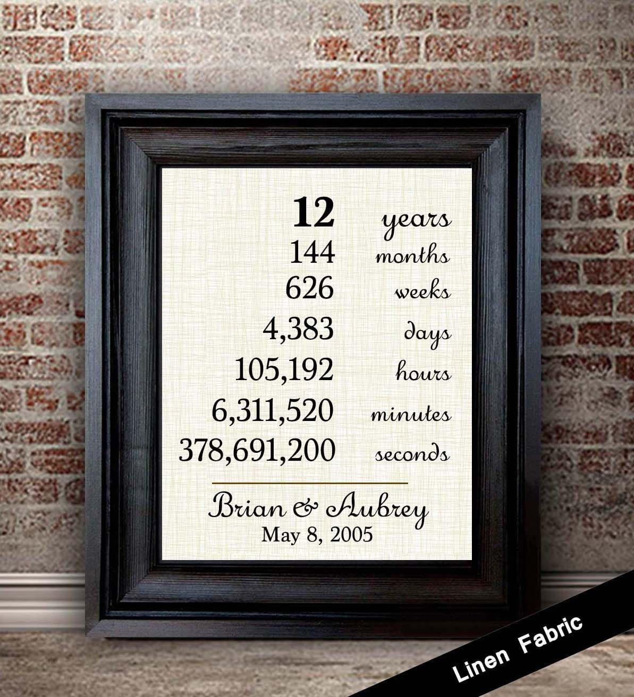 12 Year Wedding Anniversary Gifts: Linen Anniversary Gift 12th Anniversary Gifts 12 Year