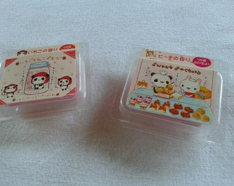 Cased putty scented erasers eraser vintage made in japan by q-lia