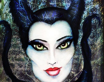 Maleficent Mixed Media Art Print