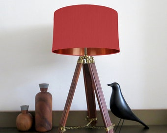 Bespoke Red lampshade with Copper Mirrored Metallic Lining