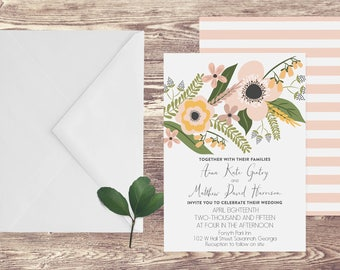 The Savannah Wedding Invitation and RSVP Set, Floral Wedding Invitation, Elegant Wedding Invitation, Spring Wedding Invitation