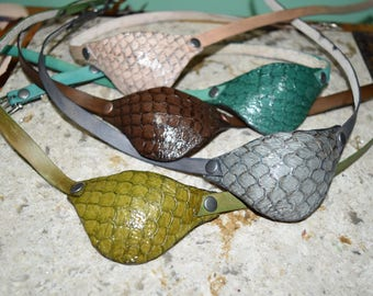 Dragon scale Leather eye patch with adjustable buckle - right or left eye- will work for medical use not touching the eye