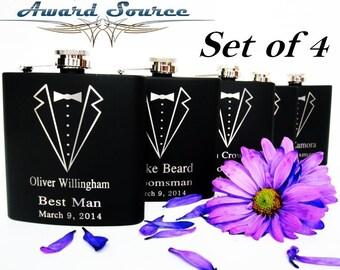 Set of 4 Wedding Party Tuxedo Flasks // Groomsman Tuxedo Flasks // Best Man Tuxedo Flasks // Usher Tuxedo Flasks // Officiant Tuxedo Flask