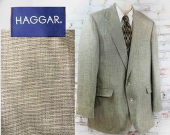 men's light weight blazer - men's Spring sport coat -Silk sport coat - tan sport coat  - men's tailored blazer - size 44 L # 254