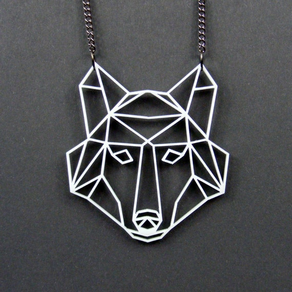 Geometric Low Poly Wolf Head Necklace