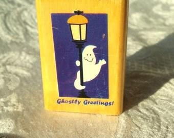 Ghostly Greetings! Halloween stamp, ghost stamp, cute rubber stamp, scary stamp, Ghost rubber stamp, Halloween stamp, Halloween Card stamp