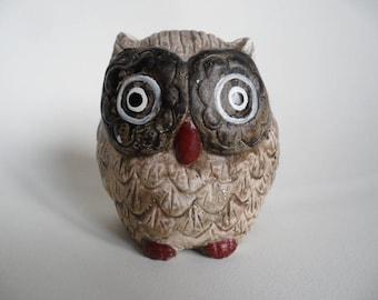 Vintage ceramic owl figure,deco figure,handpainted,Vintage pottery