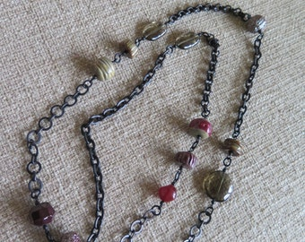 chunky necklace, chain necklace, long necklace, artisan necklace, olive and red necklace, holiday necklace, holiday gift, OOAK necklace